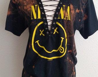 Nirvana Lace Up Acid Washed Band Top T Shirt