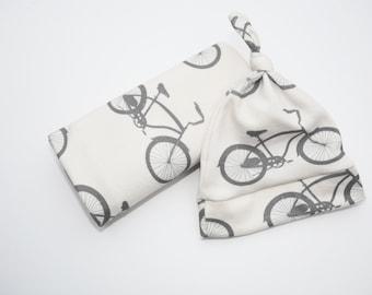 Bike Baby Blanket and Bike Hat - Organic Cotton Cruiser Bike Baby Gift Set in Gray and White.  Bicycle Theme Baby