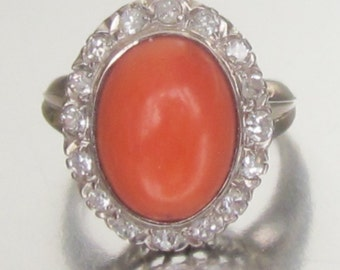 Antique ART DECO Coral and Diamond Halo Platinum Engagement Ring