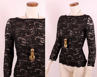 Vintage 90s - Black See Through Floral Lace - Tight Fitted Stretch Blouse Top Shirt - Grunge Goth