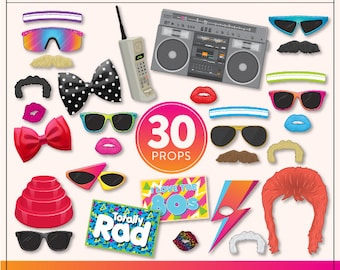 Printable 80s Photo Booth Props | 30 Printable 80s Props | Instant Download | 80s Party