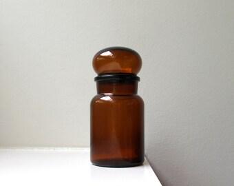 Vintage Mod Glass Apothecary Jar Bubble Top Mid Century 1970's BELGIUM