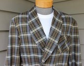 vintage 50's - 60's Men's Bath Robe. All Cotton - Madras style plaid. Extra Large - XL, 44 - 46