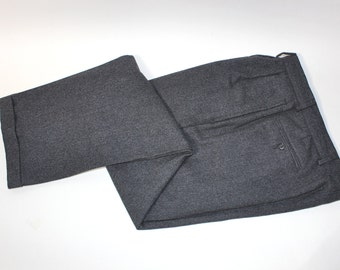 "vintage 80's - 90's -Barney's- Men's wool pants.  Brindled Gray Flannel. Double pleat front - Partially lined.  33"" Waist. Made in Italy"