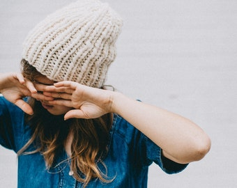 The Dockside Knit Beanie | Knit Cap | Knitted Hat | Ribbed Hat | Cream Stocking Cap | Cuffed Hat