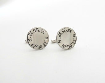 Personalized Cufflinks - Coordinate Cufflinks - Longitude and Latitude - Engrave - Mens - Dad - Father - Groom - Wedding - Anniversary