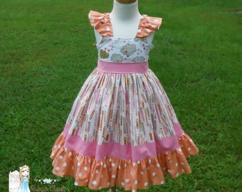 Back to School Pink and Orange Dress--size 12 mos-10 Size 4 ready to ship