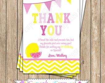 Pink Lemonade Sunshine Birthday Party Thank You Card PRINTABLE  4 summer  lemons pink yellow DIY cupcake express