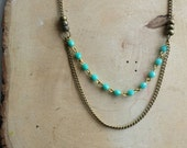 Vintage turquoise double necklace handmade
