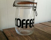 Vintage French Glass Coffee Canister Black Typography