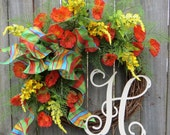 Spring Plaid Wreath, BRIGHT elegant Wreath for Spring, Wreath with Monogram, Wreath with Wired Bow, ORANGE Wreath, Horn's Handmade