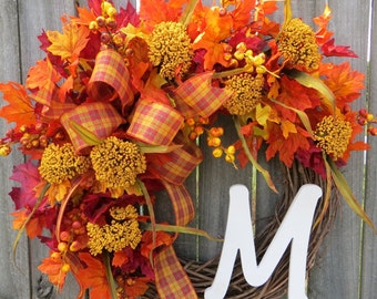 Fall Monogram Wreath, Grapevine Wreath for Autumn door, Wreath,Fall Door Wreath, Fall Wreaths for door, Wreaths for front door