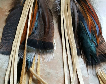 Leather and Feather Long Natural Earrings