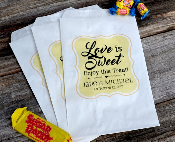 Wedding Candy Bags Love is Sweet | Wedding Candy Bar | Popcorn Bar ...