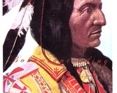 Native American Postcard. Chief Hollow Horn Bear. Brulé Sioux Indian, Photo Chromolithograph, HHT Co, Denver CO. Vintage 1930s Collectible