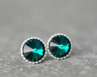 Emerald Studs Organic Edge Studs Emerald Green Round Bridemaid Stud Earrings Ball Swarovski Crystal Rainbow Stud Earrings Mashugana