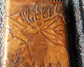 Hand Tooled Leather Wallet / Elk Wallet / Tri Fold / Mens