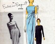 1960s Federico Forquet Dress Pattern Vogue Couturier Design 1260 Elegant Draped Evening Dress, Skirt & Pants Vintage Sewing Pattern Bust 34