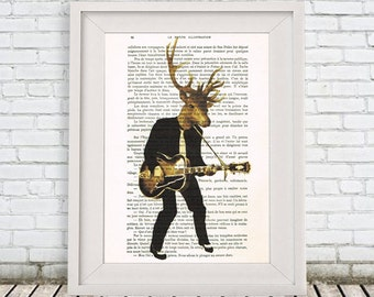 Rocker Deer Print, Drawing Illustration Giclee Prints Posters Mixed Media Art Acrylic Painting Holiday Decor Gifts, cocodeparis, Antler