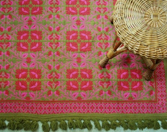 Mid-Century Flat Weave Fringe Rug - Olive Green and Pink Rug - 5 1/4' x 4 1/2
