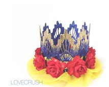 Snow White or Wonder Woman Inspired    princess ballerina flower lace crown headband