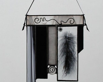 Black,White,Feathers,Abstract,Stained Glass,Suncatcher,Decorative, Home & Living, Home Decor, Glass Abstract,Window Decor, Handmade Gift