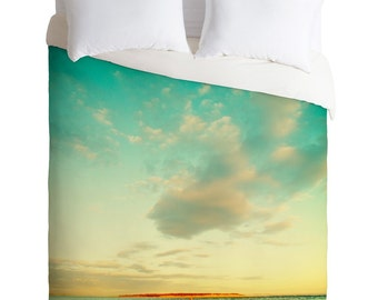 Summer Love Island Twin Queen King Duvet Cover, Turquoise Teal Orange Persimmon Sunset Sky Sea, Housewarming Gift New Apartment Home Decor