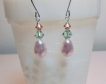 Swarovski Pink Peach Rose Green Pearl Crystal Drop Earrings, Christmas Mother Wedding Bridesmaid Mom Birthday Sister Girlfriend Jewelry Gift