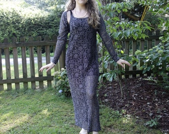 Black mesh and silver metallic lace maxi dress sheer see through gauzy lace tulle matching long sleeve bolero boho chic formal evening gown