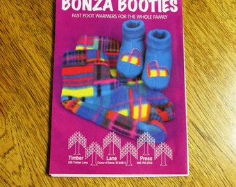 Bonza BOOTIES - Quick, Warm Polar Fleece Socks for the Whole Family - UNCUT Vintage Sewing Pattern by Timber Lane Press