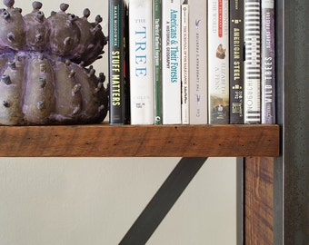 media shelving from recycled steel and reclaimed wood - island barn case - rustic, modern, industrial