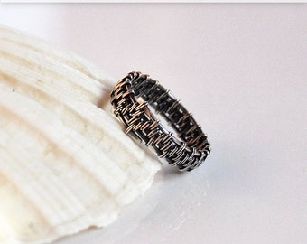 Sterling silver , wire wrapped , men's ring , size 13