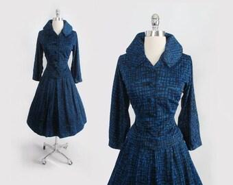 Vintage 50's New Look Blue Atomic Jacket Top / Full Skirt Dress Suit Set S