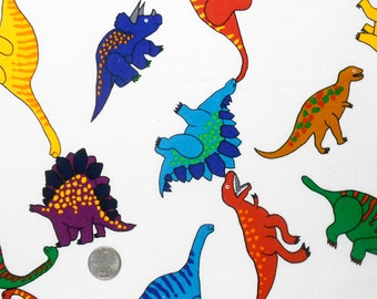 Colorful Dinorsaurs on White Cotton Fabric