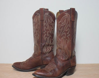 7 D | Men's TEXAS Boot Co. Brown Western Boots