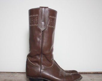 11 D | Men's Tony Lama Tall Stovepipe Western Boots in Brown Leather