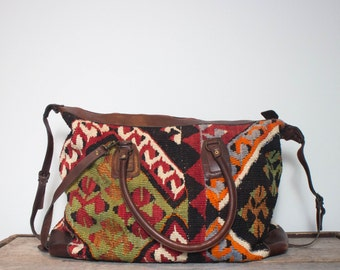 Vintage Turkish Kilim Tote Carry All Duffle Travel Bag