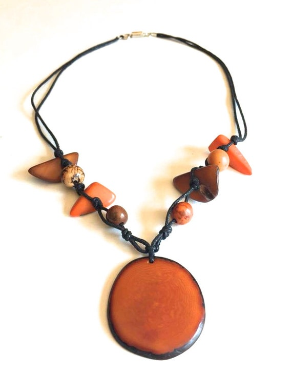 Tagua and Acai Seed Necklace, Boho Jewelry, Eco Friendly Jewelry, Mother's Day
