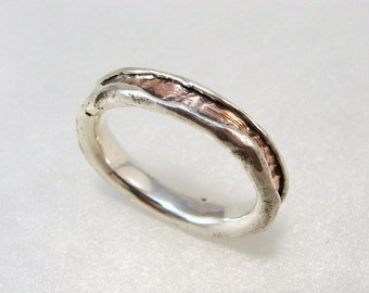 """Sterling Silver Ring : """" Copper Core """""""