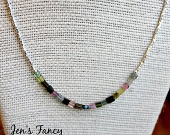 Tourmaline & Pure Silver Necklace, Karen Hill Tribe Silver, Tourmaline Jewelry, Quality Tourmaline Gemstone, Artisan Necklace, Handcrafted