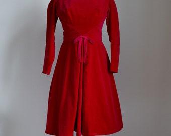 1950s Deep red velvet party dress