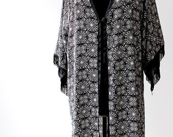 Black and White Long Kimono Jacket