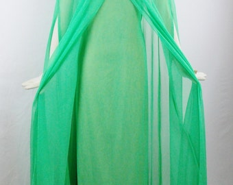 Vintage EMMA DOMB GLAMOROUS Cape Gown Emerald Green Chiffon Size Med Union Label