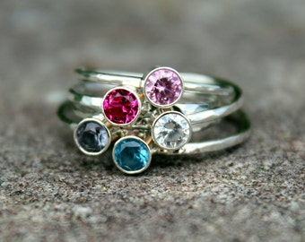 Gemstone Stacking Ring, Birthstone Ring, Mothers Ring