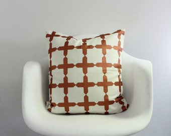 """Star Crossed 20x20"""" pillow cover hand printed in metallic copper on off-white organic cotton-hemp"""