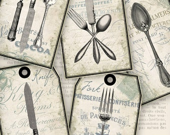 Tattered Chic Cutlery Tags printable gift tags paper crafting craft journal utensils - instant download digital Collage Sheet - VDTAVI1161