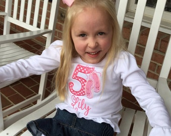 Girls Ballerina Shirt, Personalized Appliqué, Sizes 12 Mos-8