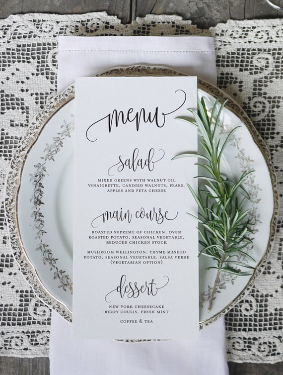 Calligraphy script wedding menu printable by eggsdesign