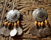 Moroccan round hand engraved bead and coin earrings with silver hooks