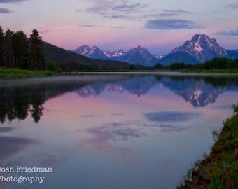 Mount Moran Before Sunrise with Reflection Grand Teton National Park Fine Art Photography Oxbow Bend Snake River Mountain Landscape  Purple